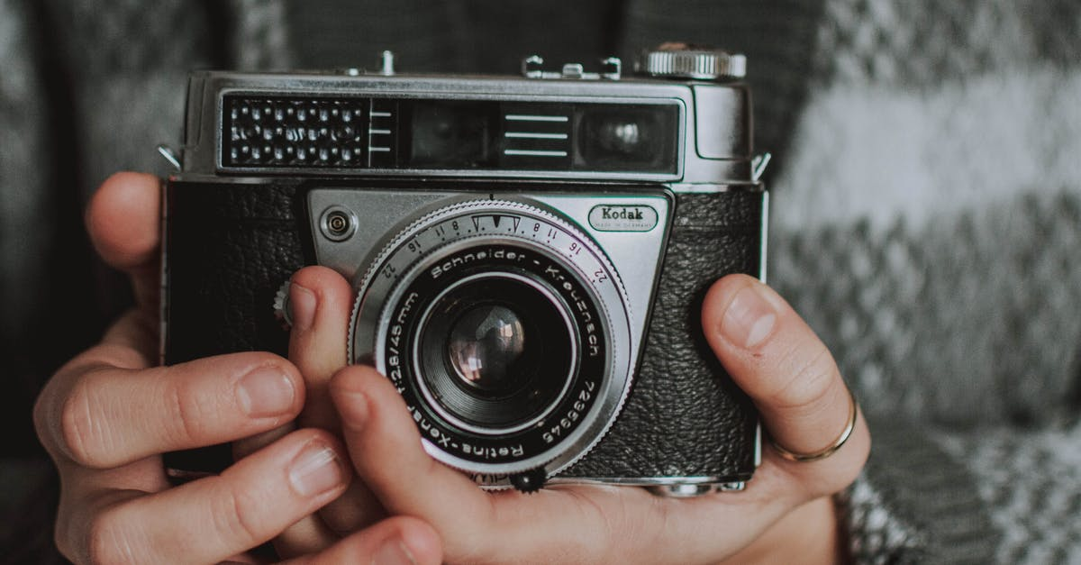 A hand holding a small camera